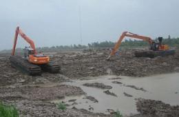 开发区土地湖湿地扩延土工布施工外包